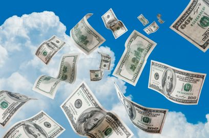 money falling out of the sky